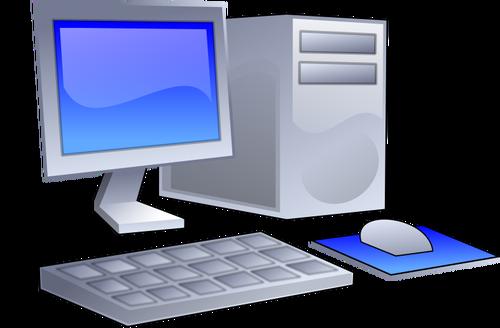 Vector clip art of color PC configuration icon.