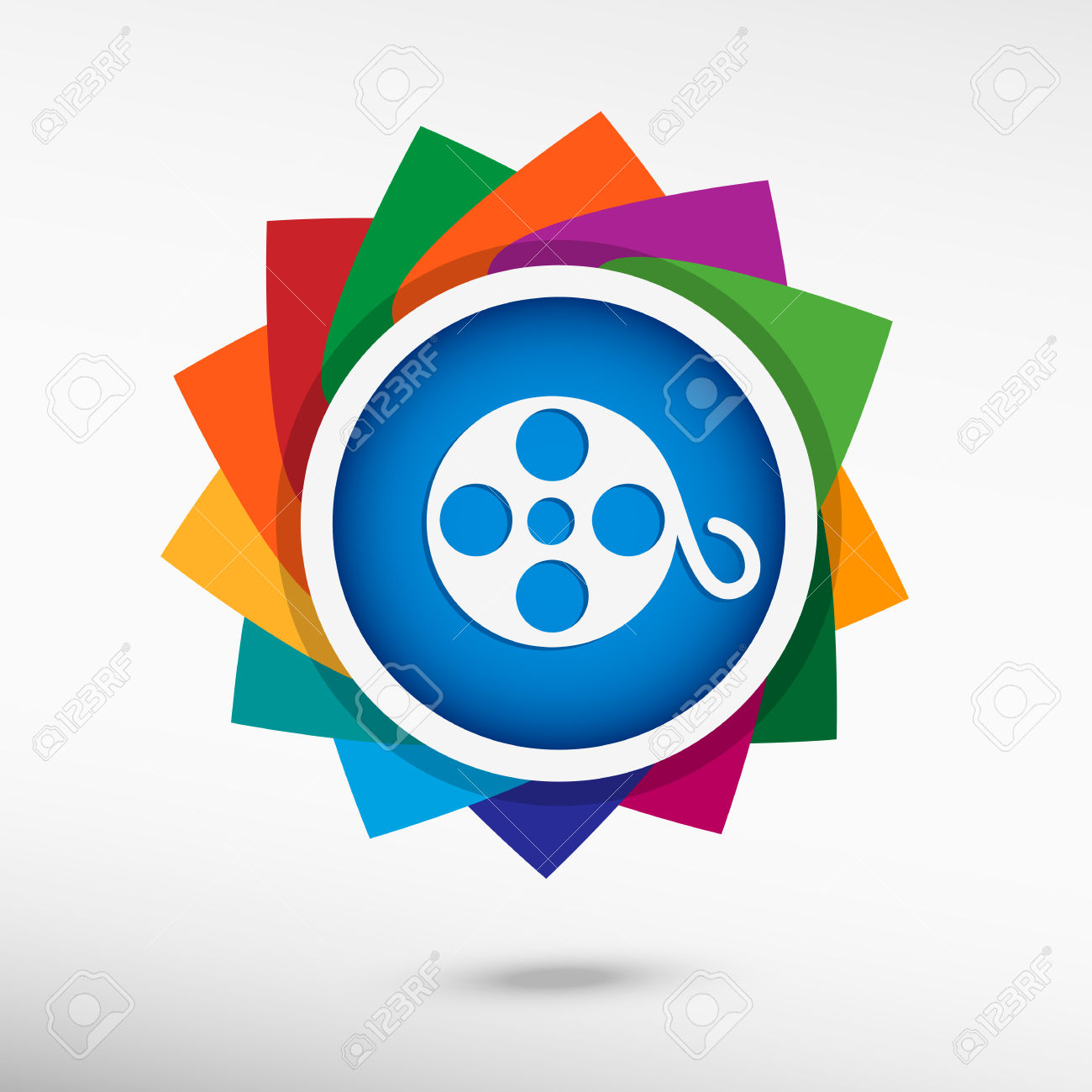 Film Reel Color Icon. Flat Design Style Royalty Free Cliparts.