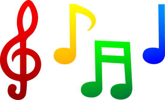 Colorful Music Notes Clip Art.