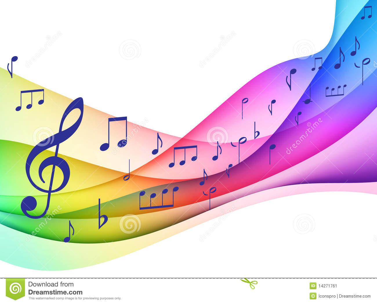 Color Spectrum Musical Notes Original Illustrati Stock Image.