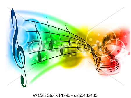 color music notes clipart