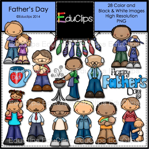 Father's Day Clip Art Bundle (Color and B&W).