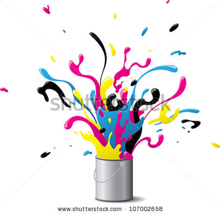 Explosive Cmyk Paint Illustration Explosion Paint Stock Vector.