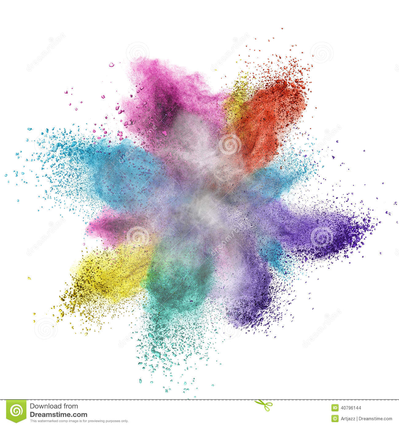Paint Powder Color Explosion On White Background Stock Photo.