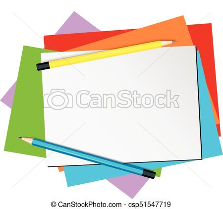 Paper template with pencils and color papers illustration..