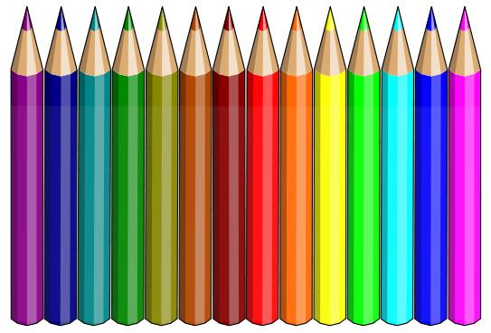 rainbow of pencils.