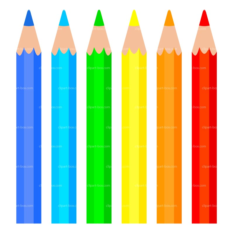 Box of colored pencils clipart.