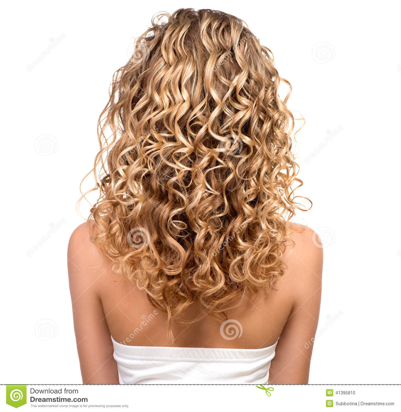 Beauty Girl With Blonde Permed Hair Stock Photo.