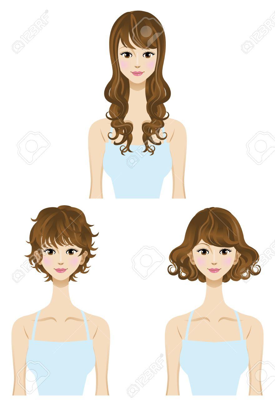 Perm,hair Style Set Three Types Length Short,Medium,long Hair.