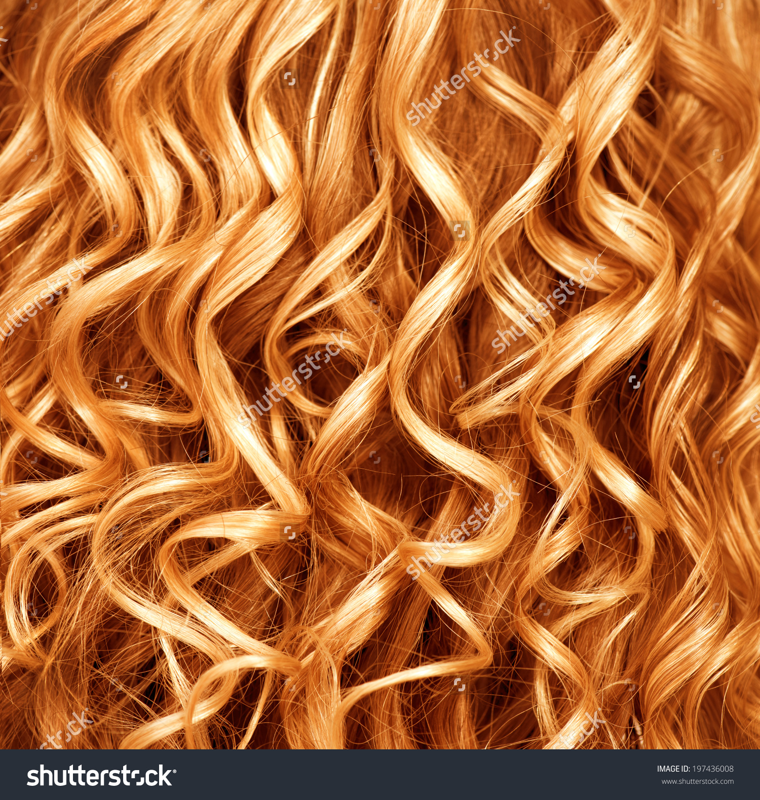 Curly Red Hair Closeup Wavy Blond Stock Foto 197436008.