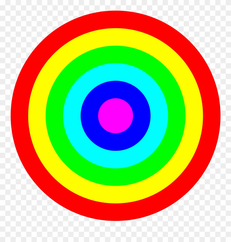 Rainbow Circle Target 6 Color Png Images.