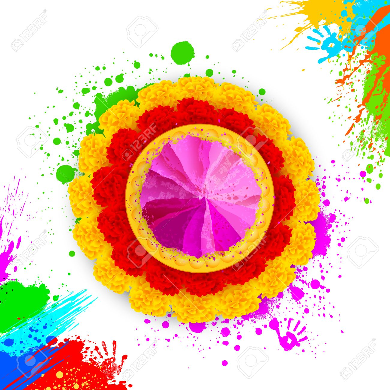 Illustration Of Colorful Gulal ( Colors Powder ) For Happy Holi.