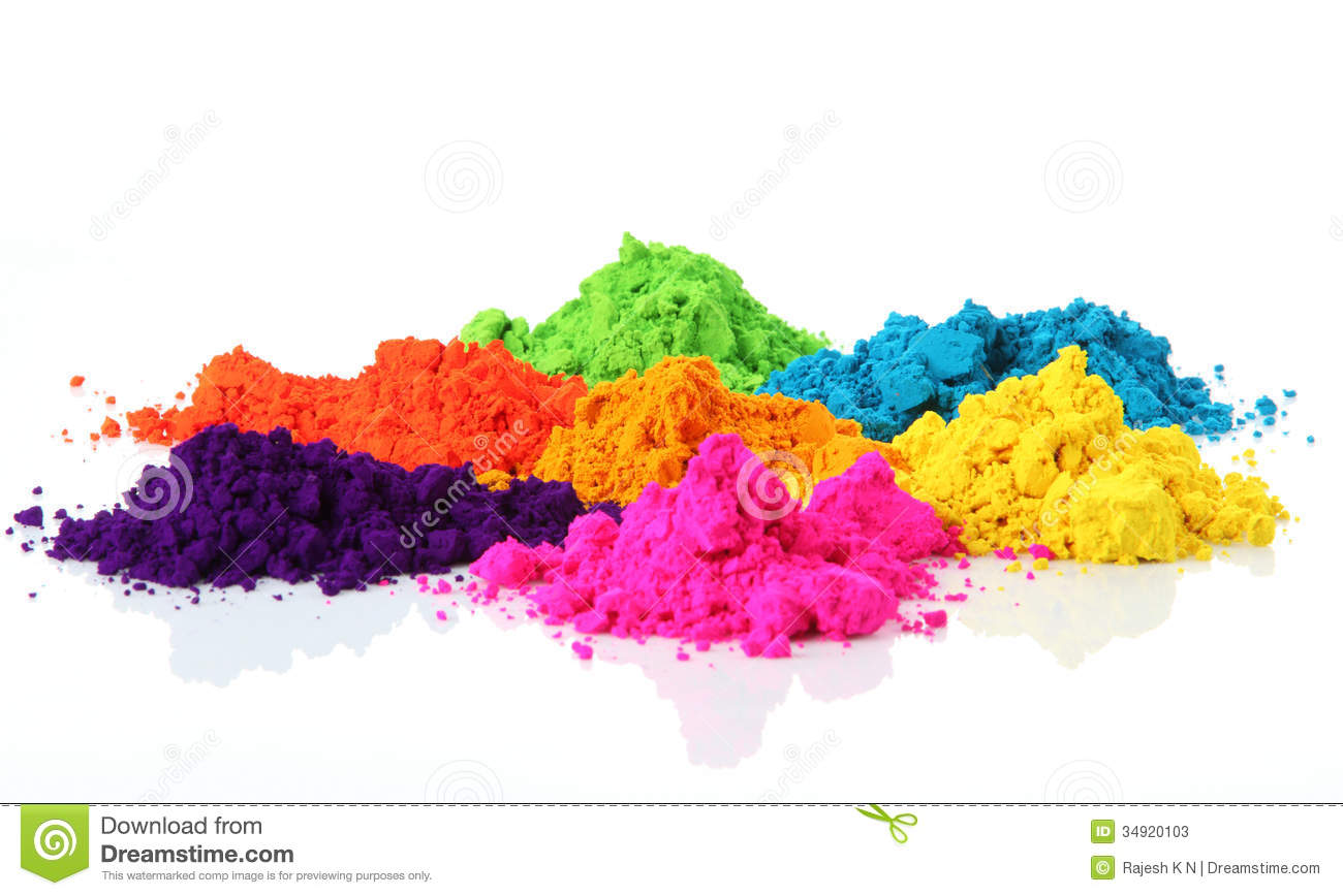 Colorful Piles Of Holi Powder Dye At Mysore Market Royalty Free.