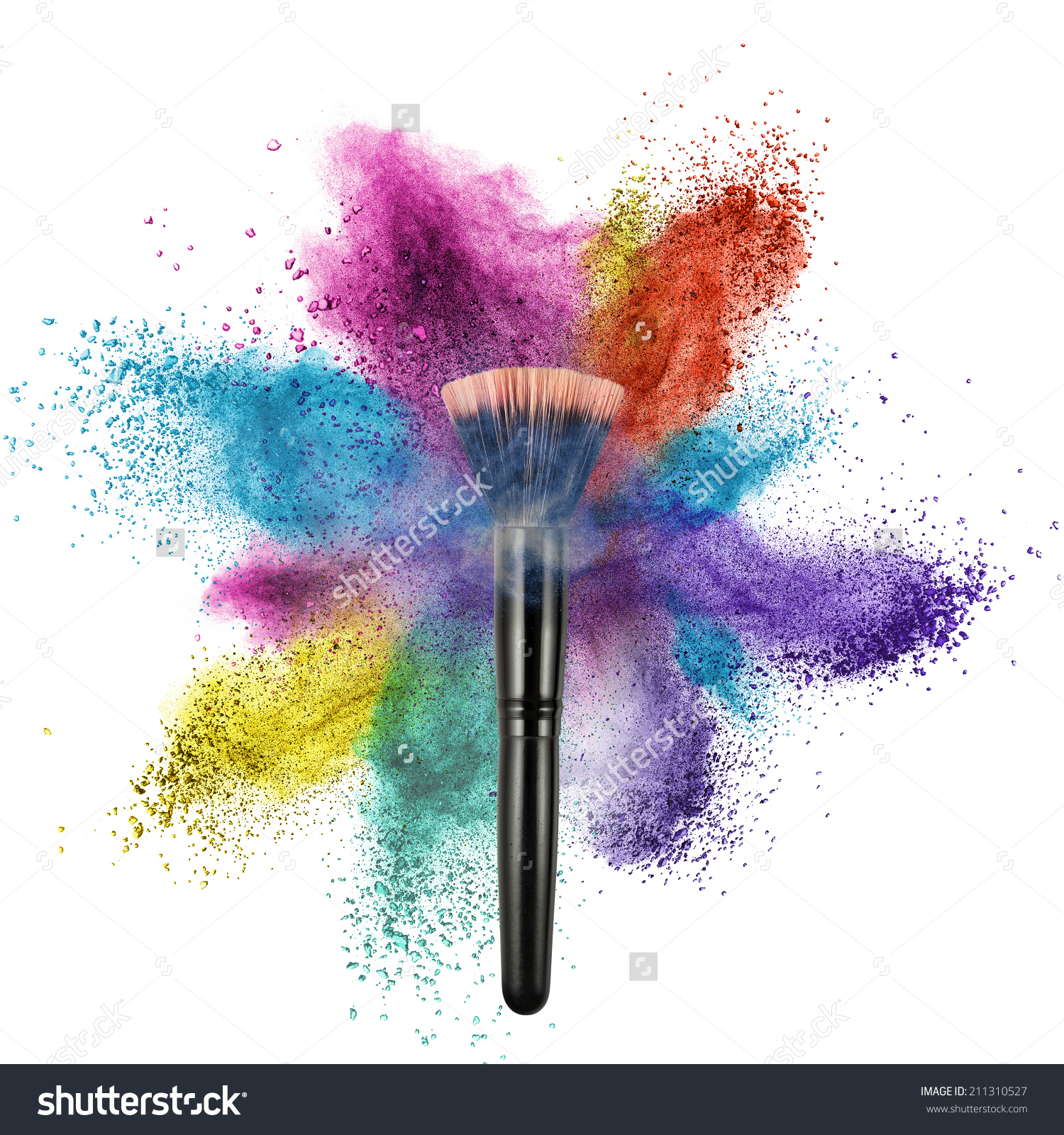 Makeup Brush Color Powder Isolated On Stock Photo 211310527.