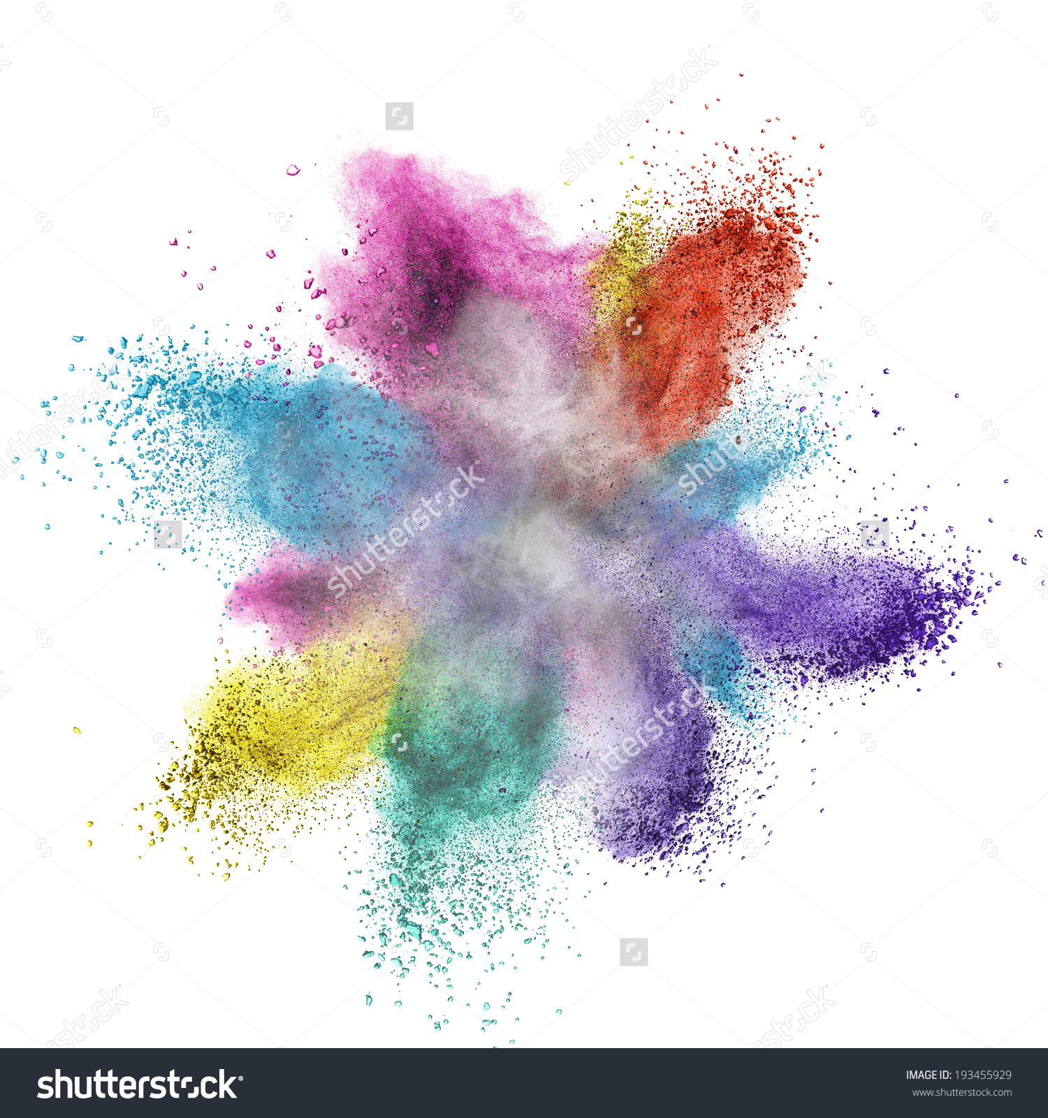 Color Powder Explosion Isolated On White Stock Photo 193455929.