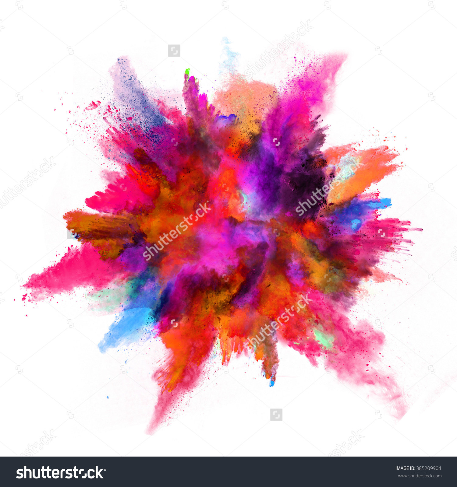 Explosion Colored Powder On White Background Stock Foto 385209904.