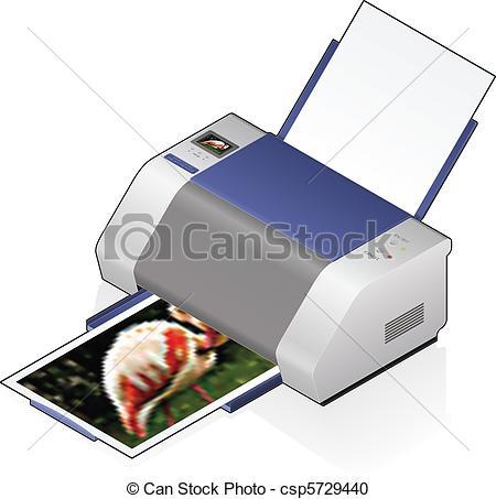 Vector Clipart of InkJet Printer.