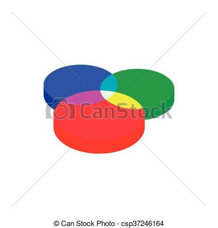 Clip Art Vector of Color range spectrum circle round palette icon.