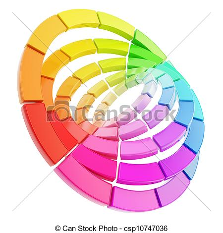 Drawings of Color range spectrum circle round palette composition.
