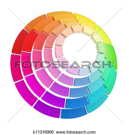 Stock Illustrations of Color range spectrum circle round palette.