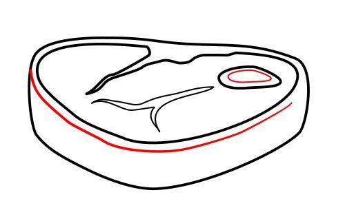 Drawing a cartoon steak.