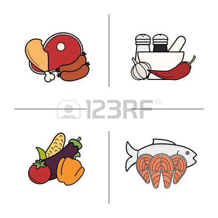 Food Color Icons Set. Grocery Store Food Products Categories.