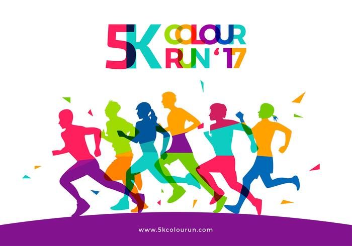 5K Color Run Template Free Vector.