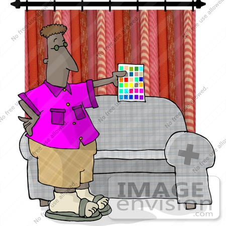 Interior Designer Man Holding a Sheet of Paint Color Samples in a.