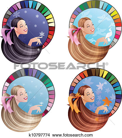 Clipart of Young laughing women with long hair coloured by.