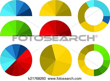 Clipart of Set of 4 colorful half pie diagrams in color shades and.