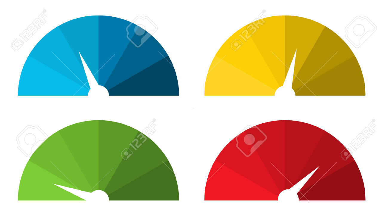 Set Of 4 Isolated Colorful Speedometers In Color Shades Royalty.