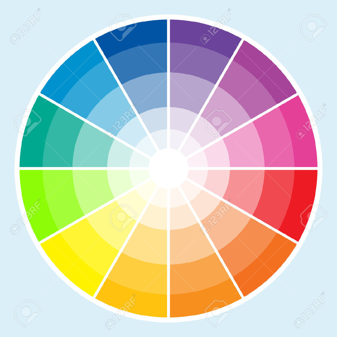 Classic Color Wheel With The Colors Moving Into Lighter Shades.