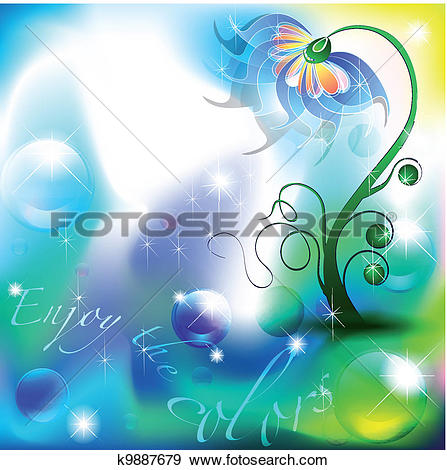Clip Art of Fairy flower in a blue and green color shades.