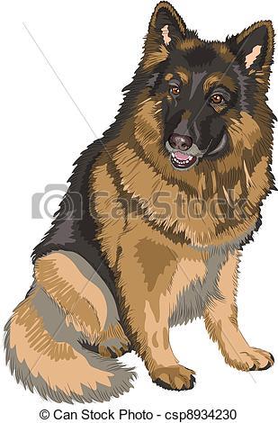 Vector Clipart of vector color sketch dog German shepherd breed.