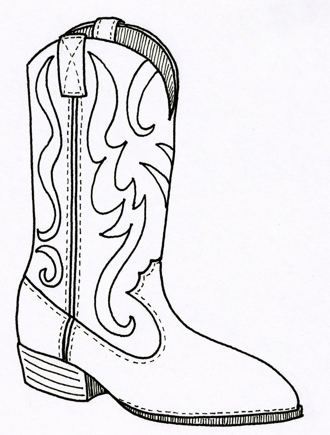 Color sketch cowboy boot clipart.