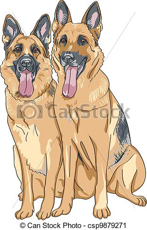 Vector Clip Art of vector color sketch two dog German shepherd.