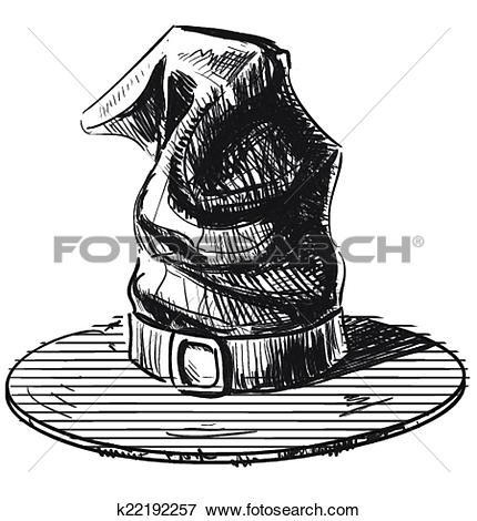 Clip Art of Halloween witch magic hat color sketch k22192257.