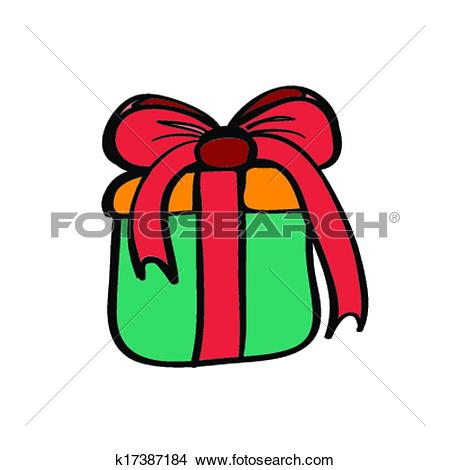 Clipart of Gift box blue color sketch 4 k17387184.