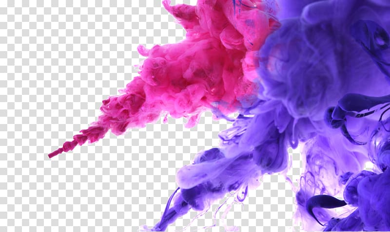 Water blooming color ink, of pink and purple smoke.