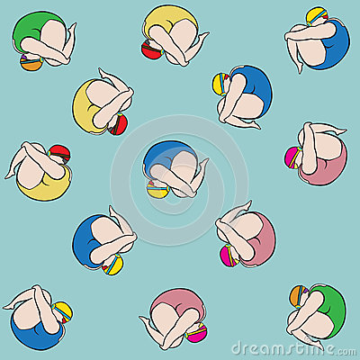Swimming Girl Spinning Variety Swimsuit Color Stock Vector.