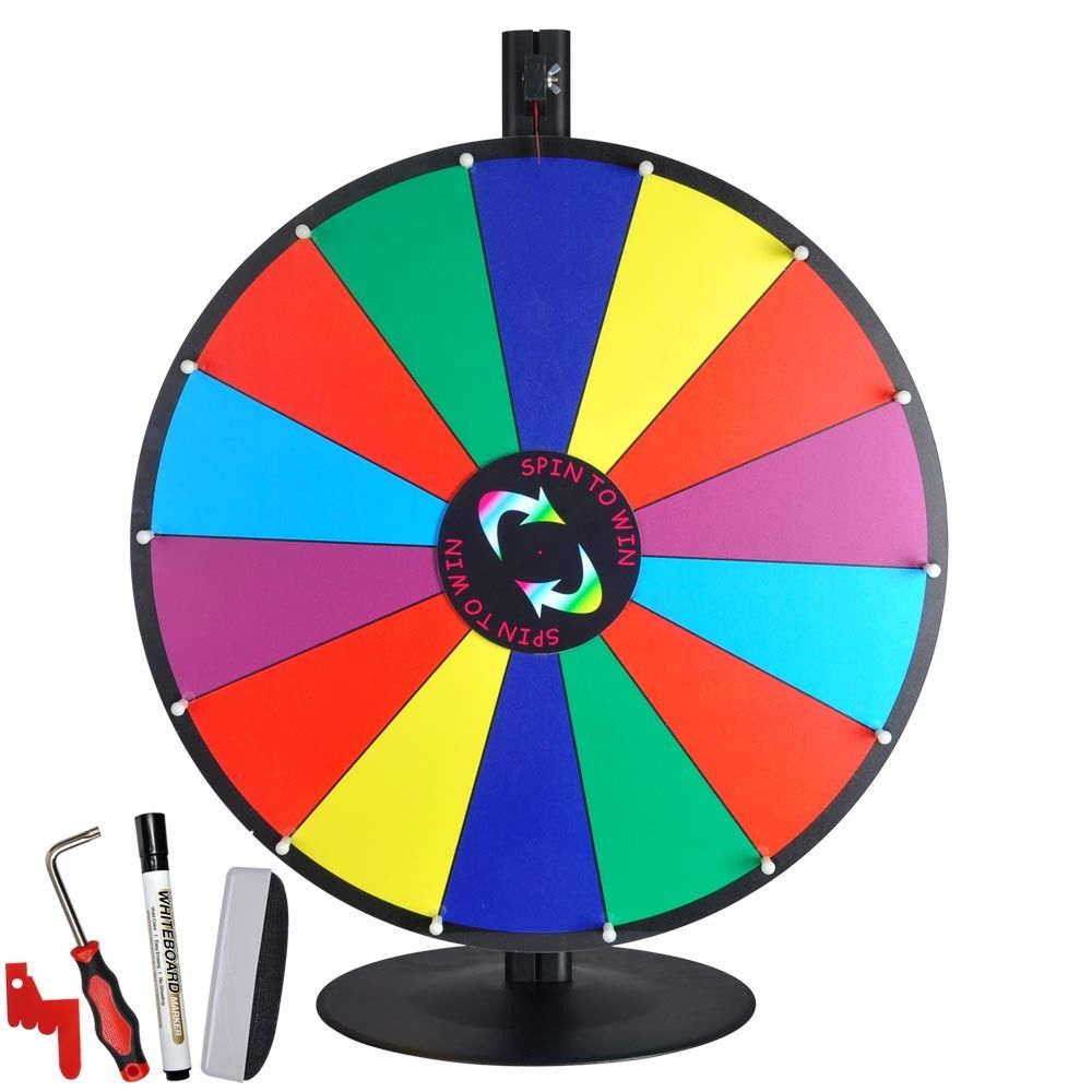 """24"""" Tabletop Color Dry Erase Prize Wheel +Stand Fortune."""