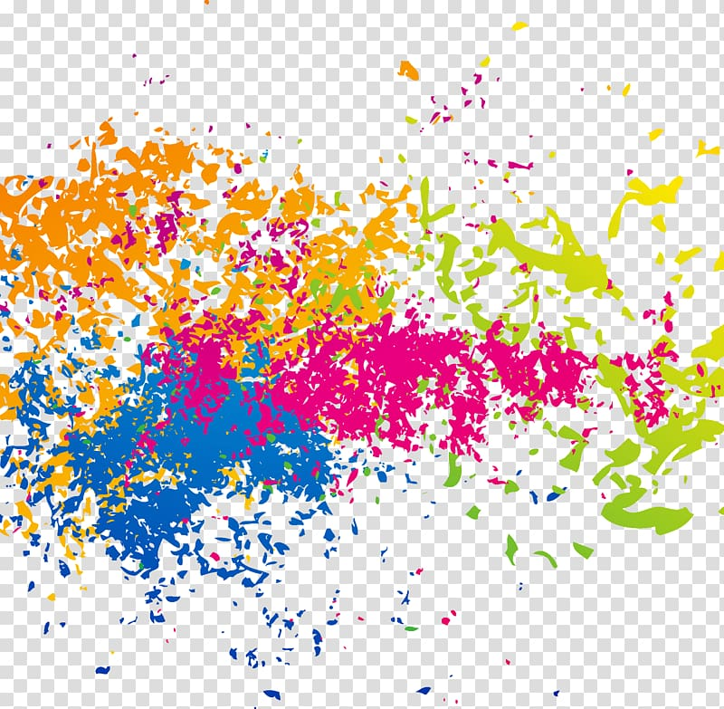Pink, orange, and blue splatter illustration, Color Splash.