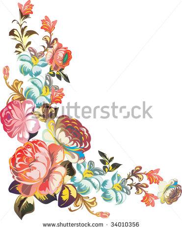 Corner Border Floral Color Stock Vectors & Vector Clip Art.