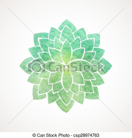 Clip Art Vector of Watercolor lotus flower green color.