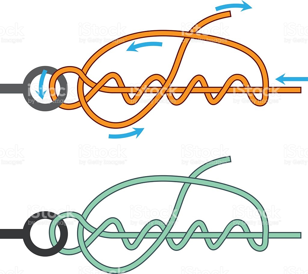 Improved Clinch Knot Diagram Two Color Version Illustration stock.