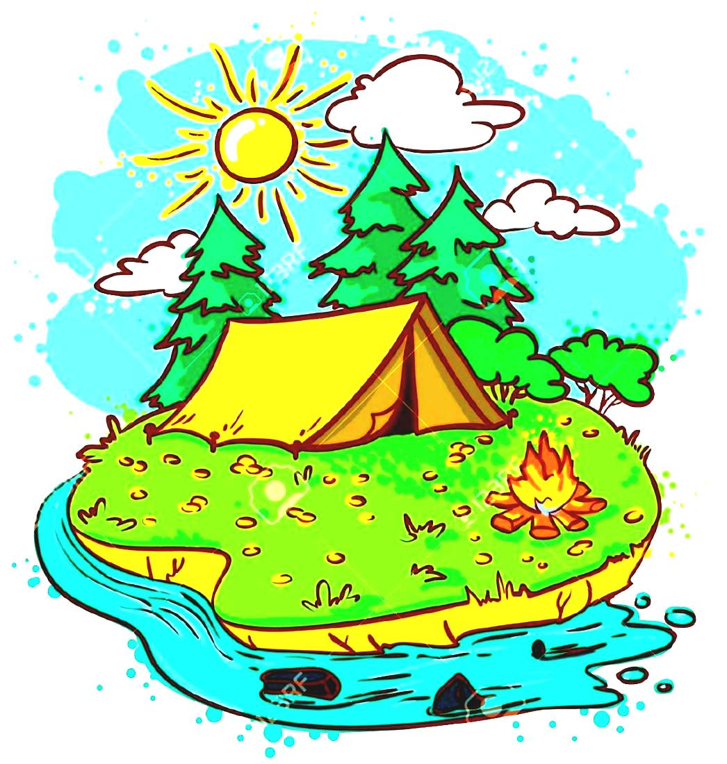 Royalty Summer Clipart Stock Free Camping Illustrations Vector.