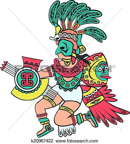 Clipart of Aztec god, color version k20967422.