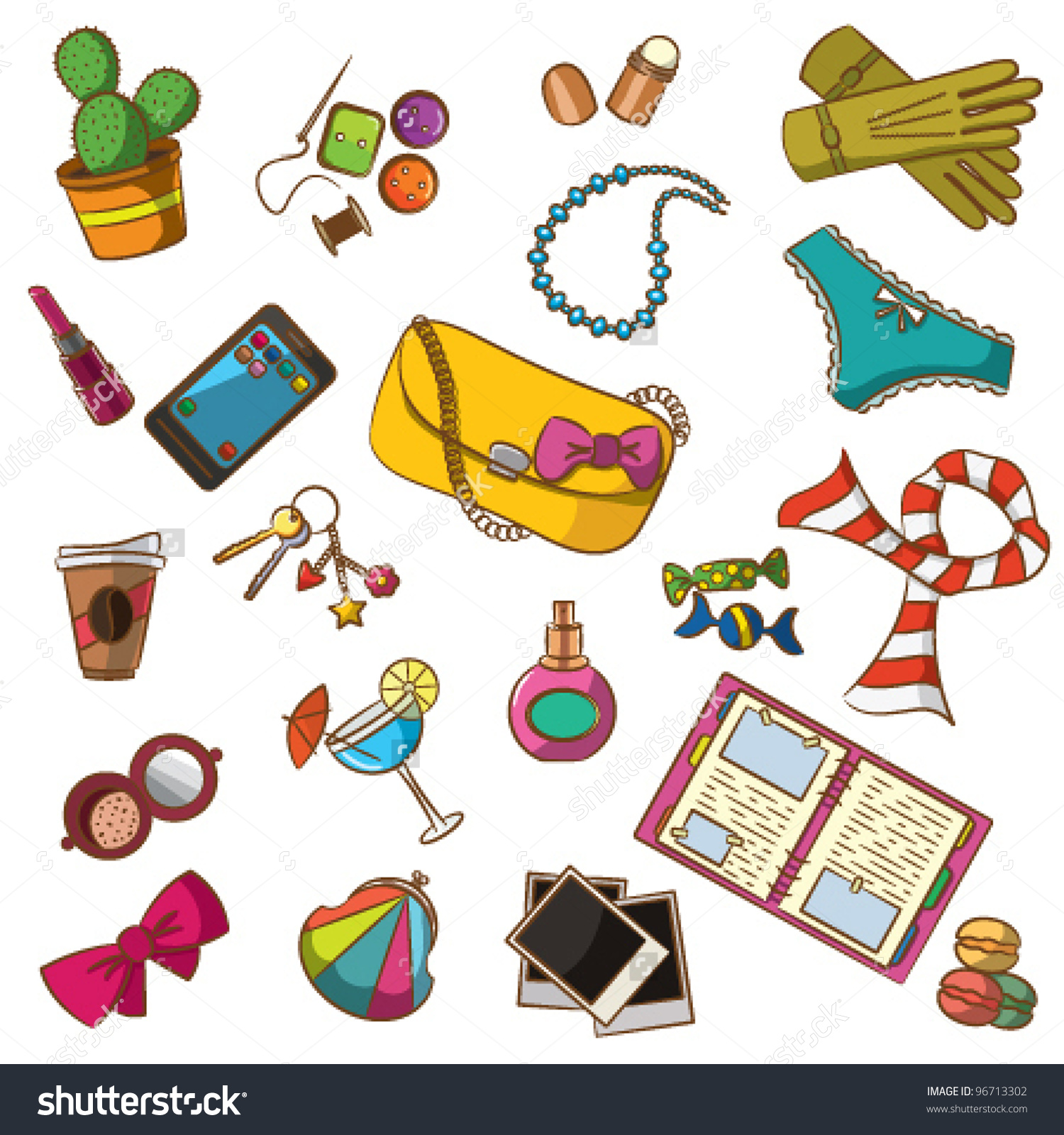 Cute Doodle Differents Female Things Color Stock Vector 96713302.