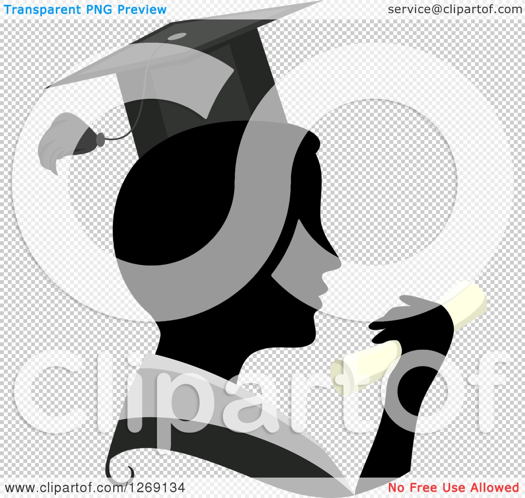 Clipart of a Silhouetted Black Graduate Man's Face with a.