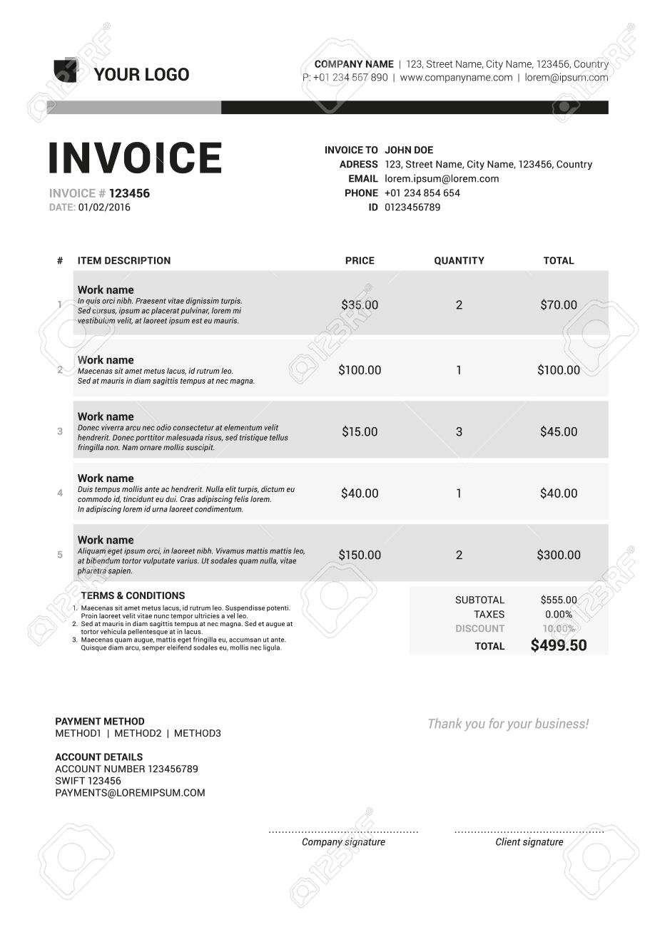 Vector Invoice Form Template Design. Vector Illustration.